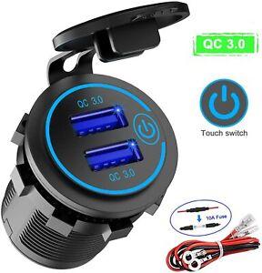 5 12V Car Charger Socket QC 3.0 Dual USB Port Volt Display Phone Fast Use tuI$^