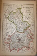 1920 COUNTY MAP of CAMBRIDGESHIRE ~ ISLE OF ELY MARCH CAXTON RAILWAYS SEATS PARK