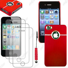 Housse Coque Silver-Line chromé Rouge Apple iPhone 4S 4+Mini Stylet+3 Films
