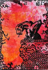 ACEO ATC original raw art outsider surrealism gargoyle gargouille artvisionary