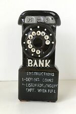 Vintage Unique Brown Telephone Shaped Coin Bank Piggy Bank