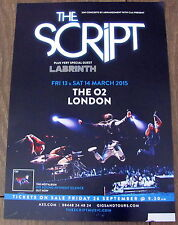 THE SCRIPT NO SOUND WITHOUT SILENCE TOUR 2015 LONDON A4 POSTER