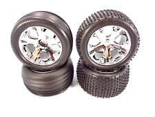 NEW TRAXXAS RUSTLER XL-5 COMPLETE SET OF ALIAS TIRES AND CHROME WHEELS 3705 VXL