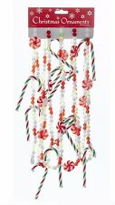 KSA 9' ACRYLIC RED/GREEN/WHITE BEADED GARLAND w/PEPPERMINT SWIRLS & CANDY CANES