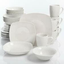 30-Piece Dinnerware Set Porcelain Square Dinner Plates Dish White for 6 Person
