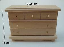 commode en pin verni, miniature,maison de poupée,vitrine meuble chambre  M4
