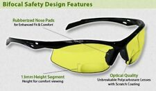 Bifocal Safety Glasses in Polycarbonate Yellow Lens +2.00 Diopter