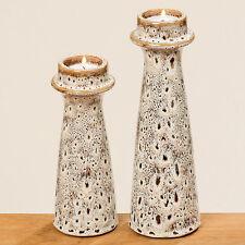 Teelichthalter aus Porzellan braun 26cm Retro
