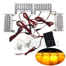 4 x 22 Amber LED Light Head Emergency Hazard Warning 12V Grille Strobe Lights