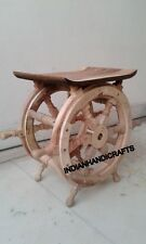 DESIGNER WOODEN 18'' SIDE COFFEE TABLE~SHIPWHEEL NAUTICAL REPRODUCTION