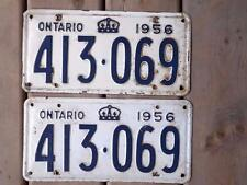 ONTARIO LICENSE PLATE 1956 413 069  SET PAIR OLD MUSCLE CAR SHOW COLLECTOR CROWN