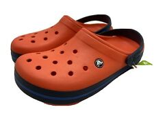 Crocs Crocband Men's Size 10 - Rare Tangerine and Navy Color Clogs 11016-8B3 NWT