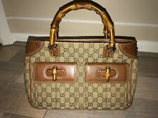 Authentic Gucci Purse Brown Monogram With Leather And Bamboo Handle