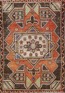 Vintage Tribal Geometric Orange Anatolian Turkish Area Rug Hand-Made 4x5 Carpet