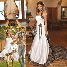 Vintage Country Camo White Wedding Dress Halter Sweep Train Backless Bridal Gown