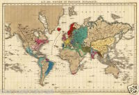 EMPIRE OF NAPOLEON Vintage World Map Reproduction Rolled CANVAS PRINT 34x24 in.