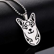 Stainless Steel Pembroke Cardigan Welsh Corgi Head Pet Dog Tag Pendant Necklace