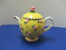 Mary Engelbreit 1997 Rhapsody Teapot Yellow Pink Floral Polka Dot Handle