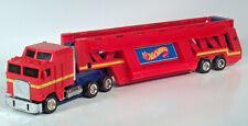 1986 Hot Wheels Semi Truck Trailer Auto Transporter Car Hauler Carrying Case Red