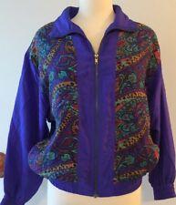 Lavon Track Suit Jacket Nylon Petite Small Purple Colorful Lightweight