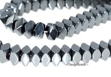 NOIR BLACK HEMATITE GEMSTONE BLACK HEXAGON RONDELLE 6X4MM LOOSE BEADS 7.5""
