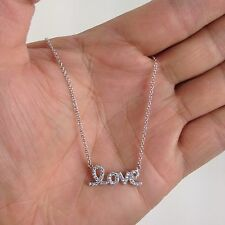"""Real sterling silver .925 CZ LOVE pendant necklace 18"""" Rhodium finish for ladies"""