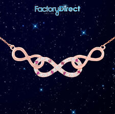 14k Rose Gold Ruby Triple Infinity Necklace with Diamonds