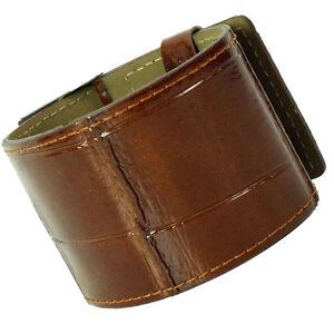Armband Strike Kroko braun glossy Lederarmband  Breit