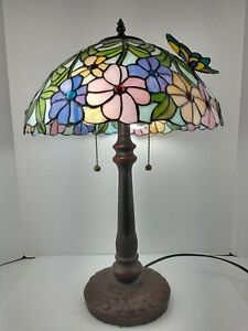 """23"""" Tall BUTTERFLY on Flowers tiffany style Shade table lamp"""