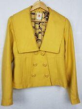 Tulle Anthropologie Women's Large L Wool Blend Coat Jacket Yellow Mustard GUC