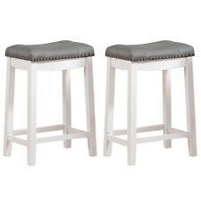 """Set of 2 Counter Height Bar Stool White Wood Padded Gray Seat Chair Backless 24"""""""
