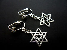 A PAIR OF TIBETAN SILVER STAR OF DAVID CLIP ON EARRINGS. NEW.