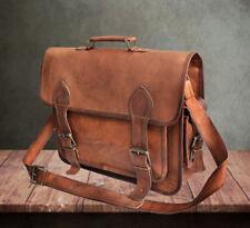 """16"""" Vintage Briefcase Satchel Soft Leather Laptop Messenger Bag Shoulder Men New"""