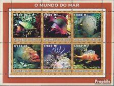 Mosambik 2638-2643 Velletje postfris MNH 2002 Wereld van Marine