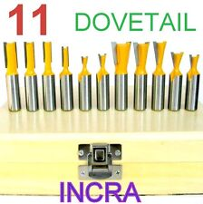 "11 pc 1/2"" Shank Dovetail & Straight Router Bit Set  For INCRA Jig sct 888"