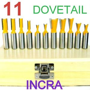 """11pc 1/2"""" Shank Dovetail & Straight Router Bit Set  For INCRA & JOINTECH Jig"""