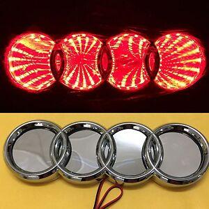 3D LED Car Tail Logo Red Light for Audi Q3 Q5 A1 A3 TT Auto Badge Light Emblems