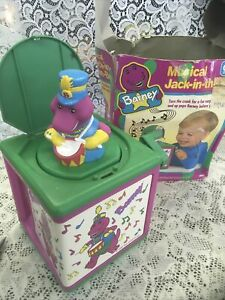 Barney Jack in the box Musical Toy Purple Dinosaur Wind up pop out Vintage 1993