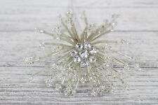 Silver Clear Diamante Beaded Wire Star Burst Corsage Wedding Prom Flowers Cakes Silver X 1