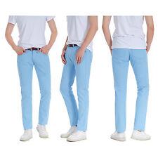 Men's Designer Robelli Skinny Fit Cotton Chinos Trousers - Light Sky Blue