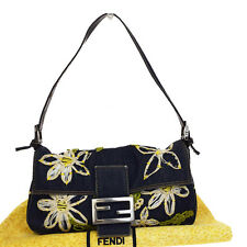Authentic FENDI Logos Embroidery Shoulder Bag Denim Leather Navy Blue 09V021