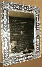Indian Handicrafts Mother Of Pearl Inlay Mirror Frame White