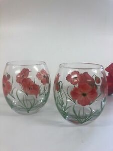 Individually hand painted Poppy tumblers