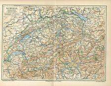 Karte der SCHWEIZ 1889 Original-Graphik