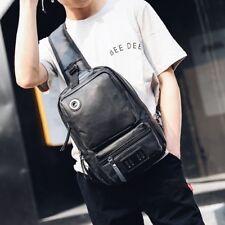 Men's Tactical Sling Chest Shoulder PU Leather Backpack Satchel Bag Day Packs OY