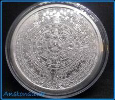 Aztec Calendar / Cuauhtemoc / Aztec Warrior - 1 oz Silver Round - ENCAPSULATED