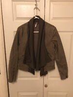 Free People Denim Army Green Moto Zipper Draped Latered Open Front Jacket 6