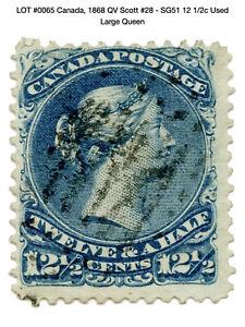 0065: Canada, 1868 QV Scott #28 - SG51 12 1/2c Used - Large Queen