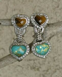 Judith Ripka Tigers Eye And Turquoise Doublet W/Gold Leaf Omega Backs Sterling