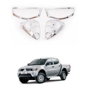 Set Chrome Head + Tail Light Cover Trim Set Fit Mitsubishi Triton L200 05 - 10